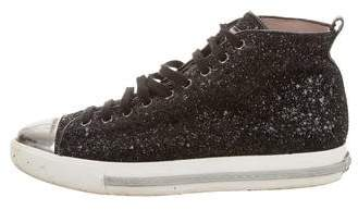 Miu Miu Glitter High-Top Sneakers