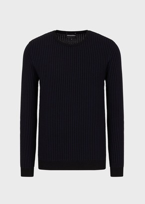 Emporio Armani Sweater With An Ornamental Vertical Motif