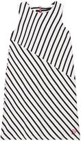Cyrillus Navy and White Stripe Asymmetric Dress with Zip Detail