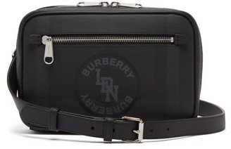 Burberry London-check Logo-print Leather Cross-body Bag - Grey