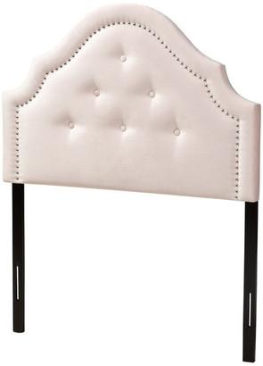 Baxton Studio Julietta Contemporary Velvet Upholstered Headboard, Light Pink, Twin