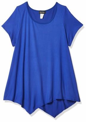 Star Vixen Women's Plus-Size Short Sleeve Flattering Hanky Hem Brushed Knit Top