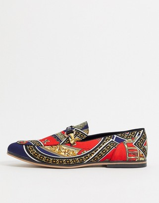 ASOS DESIGN loafers in red with baroque print