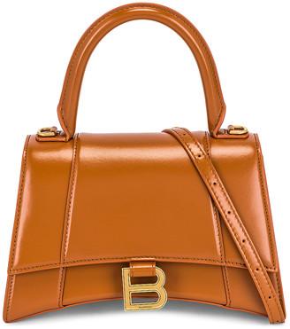 Balenciaga Small Hourglass Top Handle Bag in Camel | FWRD