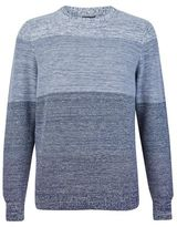 Burton Burton Blue Textured Block Stripe Cotton Jumper