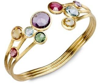 Marco Bicego Jaipur Semi-Precious Multi-Stone 18K Yellow Gold Three-Row Cuff Bracelet