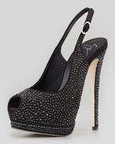 Giuseppe Zanotti Crystallized Platform Peep-Toe Slingback, Black