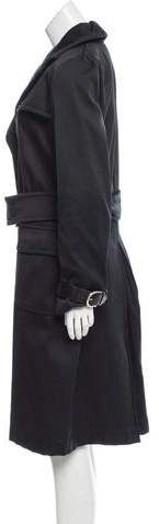 Salvatore Ferragamo Leather-Trimmed Longline Coat