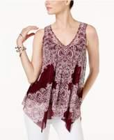 INC International Concepts Printed Handkerchief-Hem Top, Created for Macy's