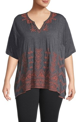 Johnny Was Plus Eyal Embroidered Knit Tunic Top