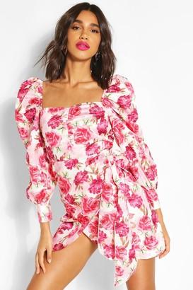 boohoo Floral Puff Sleeve Drape Wrap Dress