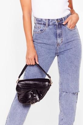 Nasty Gal Womens WANT Saddle Up Faux Leather Crossbody Bag - Black