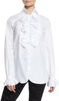 Ralph Lauren Ruffled Cotton Blouse, White