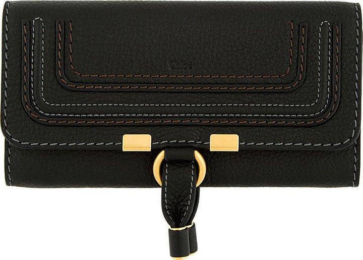 Chloé Black Leather Marcie Long Envelope Wallet