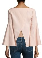 Alice + Olivia Shirley Crossback Cotton Bell Sleeves Crop Tunic
