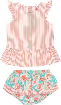 RuffleButts Stripe Peplum Top & Skirted Bloomers Set