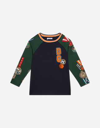 Dolce & Gabbana Long-Sleeved Jersey T-Shirt With Medal Print