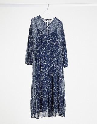 Free People midi dress in blue floral