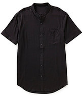 Murano Liquid Luxury Short Sleeve Slim-Fit Knit Mandarin Shirt