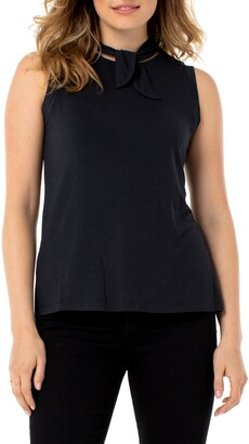Liverpool Tie Neck Muscle Sleeveless Top