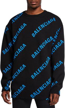 Balenciaga Men's Logo Typographic Sweater