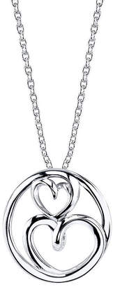 Footnotes Cubic Zirconia Sterling Silver 18 Inch Cable Heart Pendant Necklace