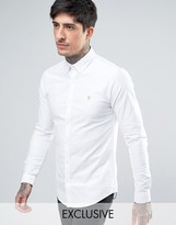 Farah Stretch Skinny Fit Oxford Shirt Buttondown Exclusive In White