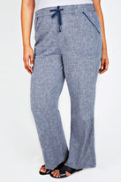 Yours Clothing Blue Cross Dyed Cotton Linen Mix Full Length Pull On Trousers