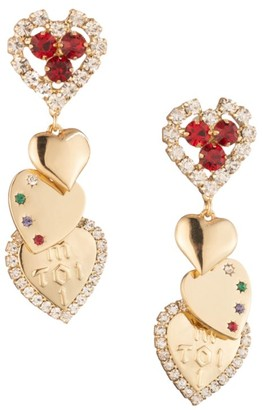 Dannijo Marion Crystal-Embellished Heart-Shaped Earrings