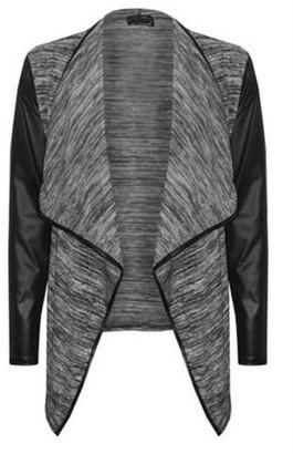 MIXLOT Women's Long Sleeve Ladies Stretch Wet Look Wrapover Waterfall Trimmed Front Open Cardigan Jacket Coat Blazer PVC PU (M/L 12-14