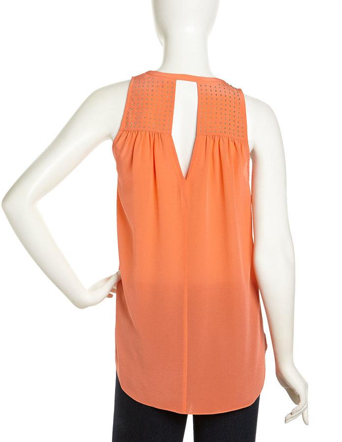 Rebecca Taylor Sleeveless Studded Chiffon Blouse, Orange Blossom