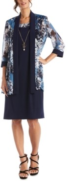 R & M Richards Petite Floral-Print Jacket & Necklace Dress