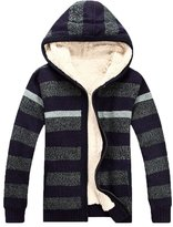 OCHENTA Men's Thicken Hooded Stand Collar Striped Zip Up Cardigan Sweater Coat -2XL