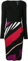 Class Roberto Cavalli striped fitted dress