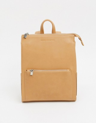 French Connection faux Leather Oversized Zip Backpack