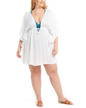 Bleu by Rod Beattie Trendy Plus Size Metallic-Stripe Cover-Up Women's Swimsuit