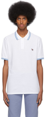 Paul Smith White and Blue Zebra Polo