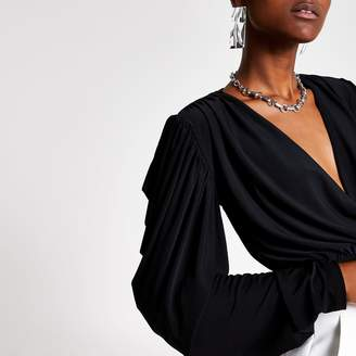River Island Womens Black wrap draped crop top