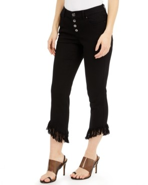 INC International Concepts Inc Petite Fringe-Hem Button-Front Cropped Jeans, Created for Macy's