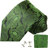 Paisley Silk Tie, Pocket Square and Cufflinks by Paul Malone
