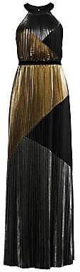 BCBGMAXAZRIA Women's Metallic Sunburst Pleated Halter Gown