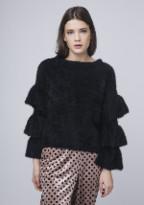Compania Fantastica - Fluffy Smooth Faux Fur Short Haired Ruffle Jumper - MEDIUM - Black