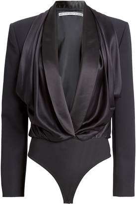 Alexander Wang Tuxedo Wool Hybrid Bodysuit