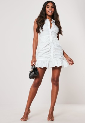 Missguided White Poplin Ruched Sleeveless Shirt Dress