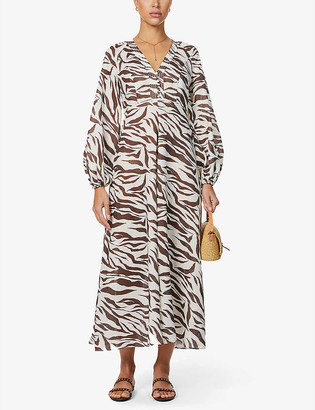 Zimmermann Fiesta puff-sleeve animal-print linen maxi dress