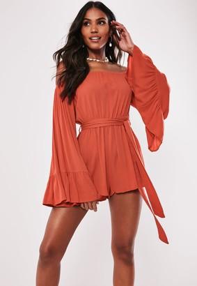 Missguided Orange Flare Sleeve Bardot Playsuit