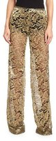 Roberto Cavalli Metallic Lace Flare-Leg Pants, Gold