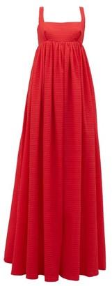 Emilia Wickstead Evelina Square-neck Seersucker-organza Maxi Dress - Womens - Red
