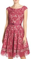 Eliza J Petite Women's Eliza Belted Lace Fit & Flare Dress