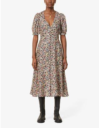 Sessun Kensington Park floral-print silk-satin midi dress